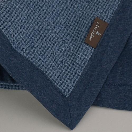 Terre-de-Coton-Denim-Blue-Basket-Weave-Reversible-Throw